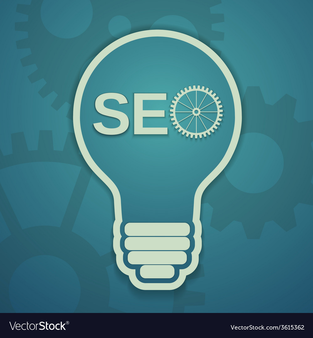 Seo concept with bulb and gears vector | Price: 1 Credit (USD $1)