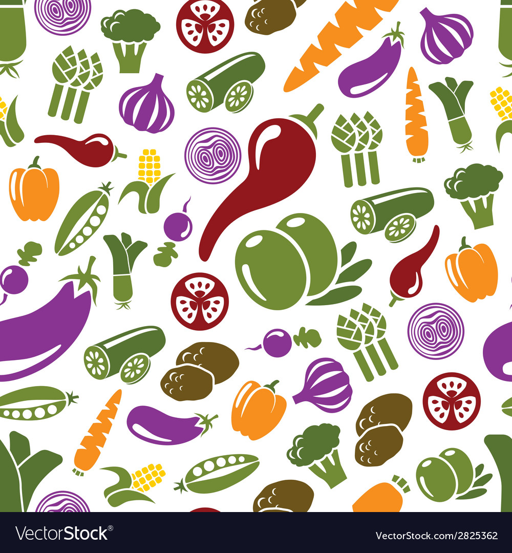 Vegetable seamless pattern vector | Price: 1 Credit (USD $1)