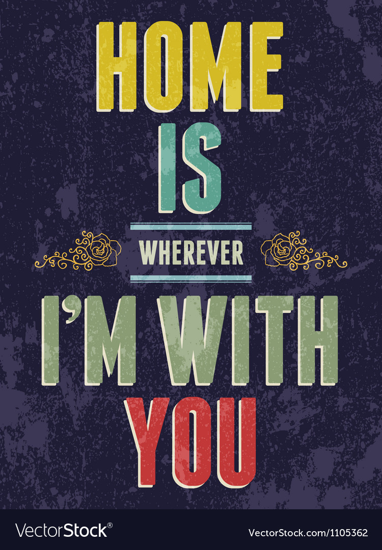 Vintage home is wherever im with you love poster vector | Price: 1 Credit (USD $1)