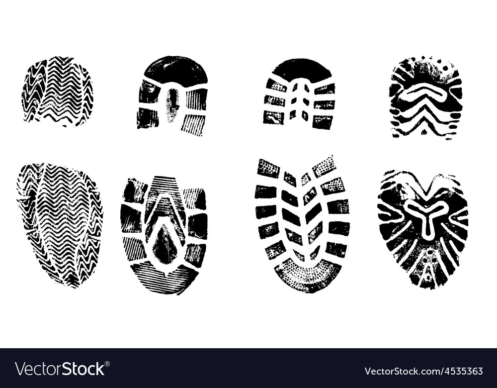 4 isolated bootprints - highly detailed of walking vector | Price: 1 Credit (USD $1)