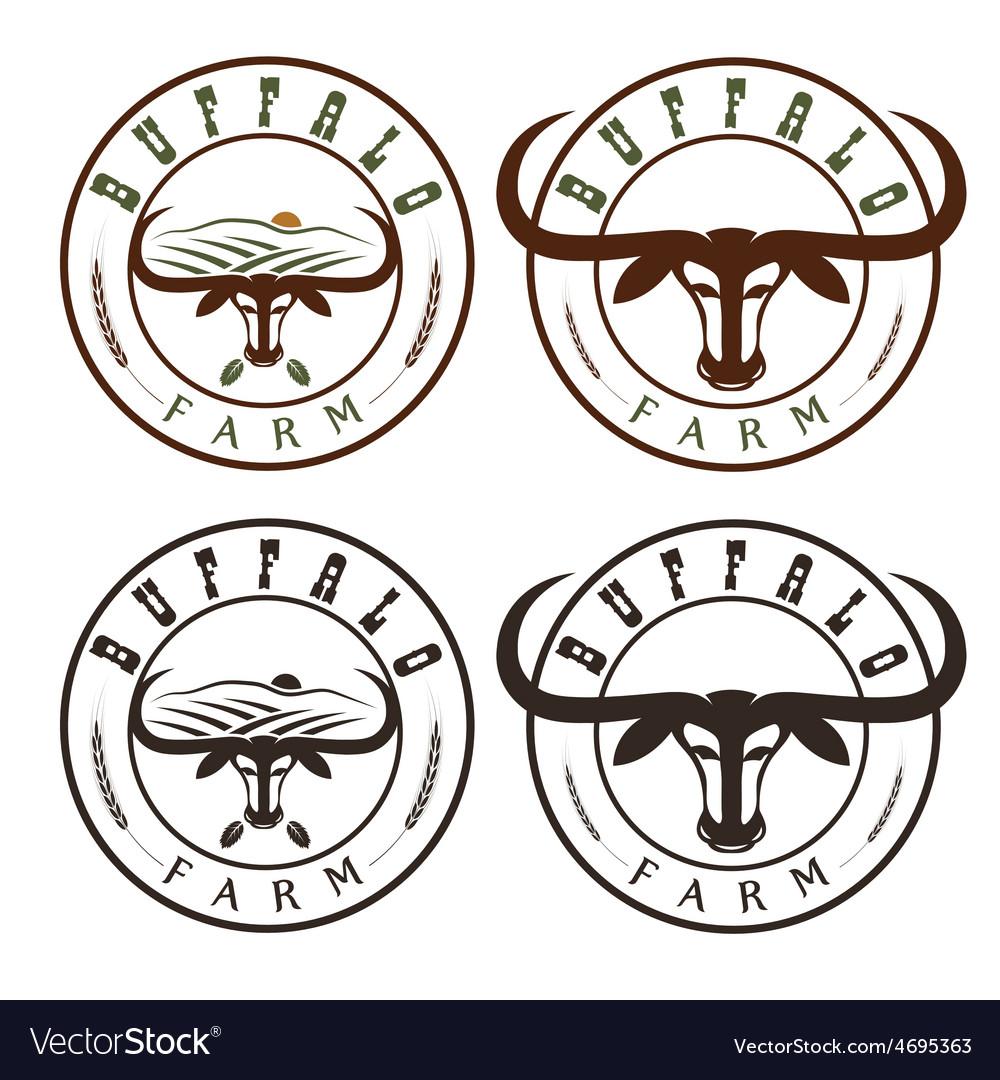 Buffalo farm vintage labels set vector | Price: 1 Credit (USD $1)