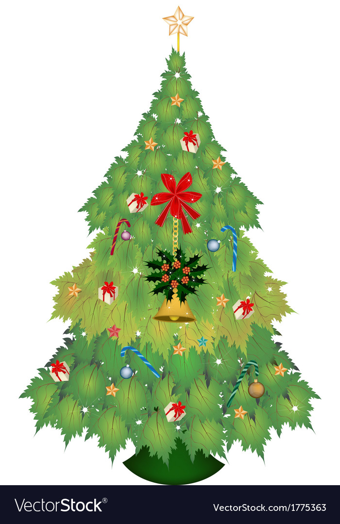 Christmas tree of maple leaves with ornament vector | Price: 1 Credit (USD $1)