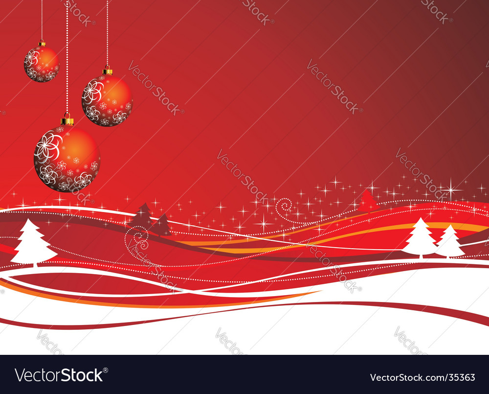 Christmas illustration with red ball vector | Price: 1 Credit (USD $1)