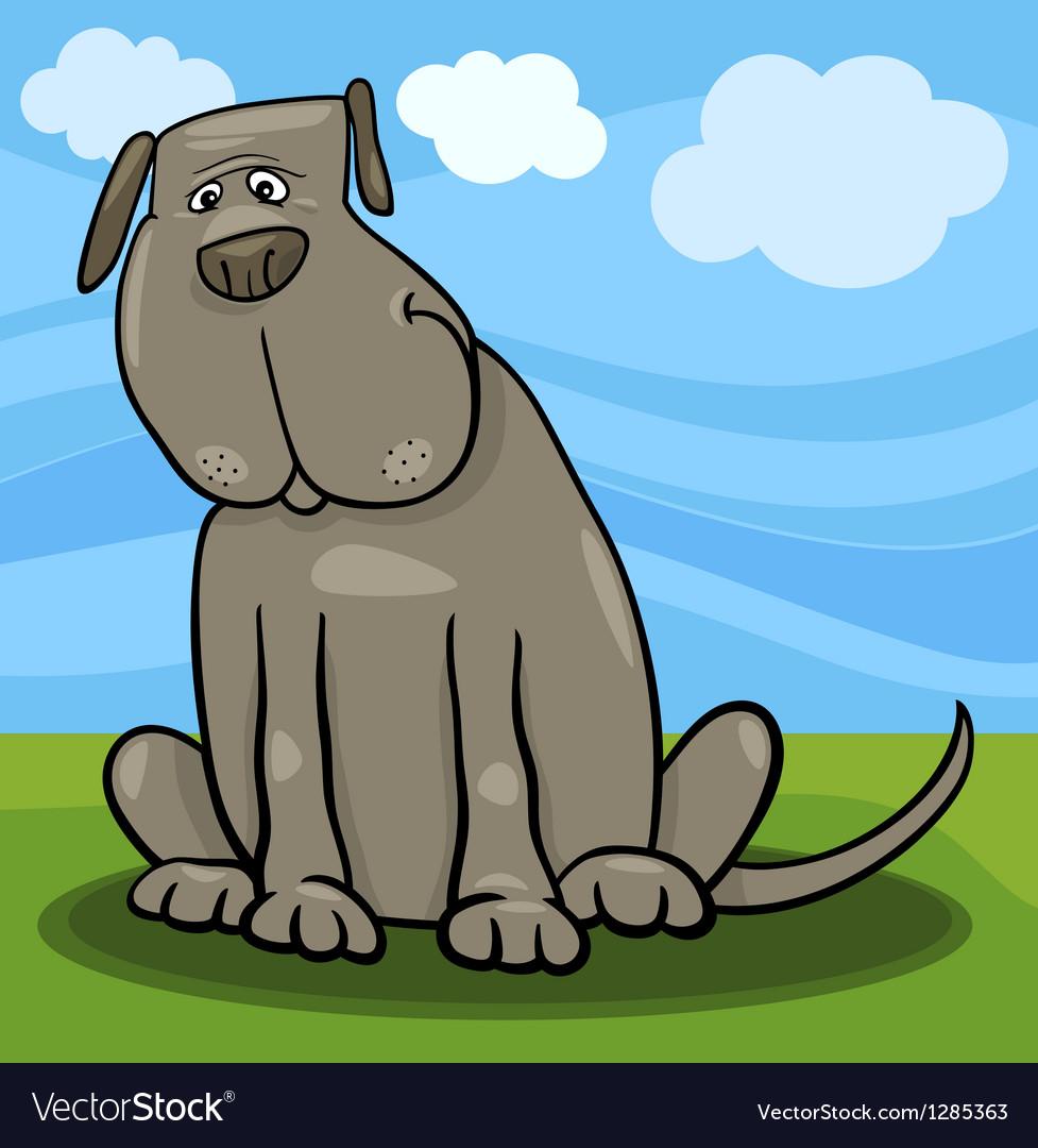 Cute big gray dog cartoon vector   Price: 1 Credit (USD $1)