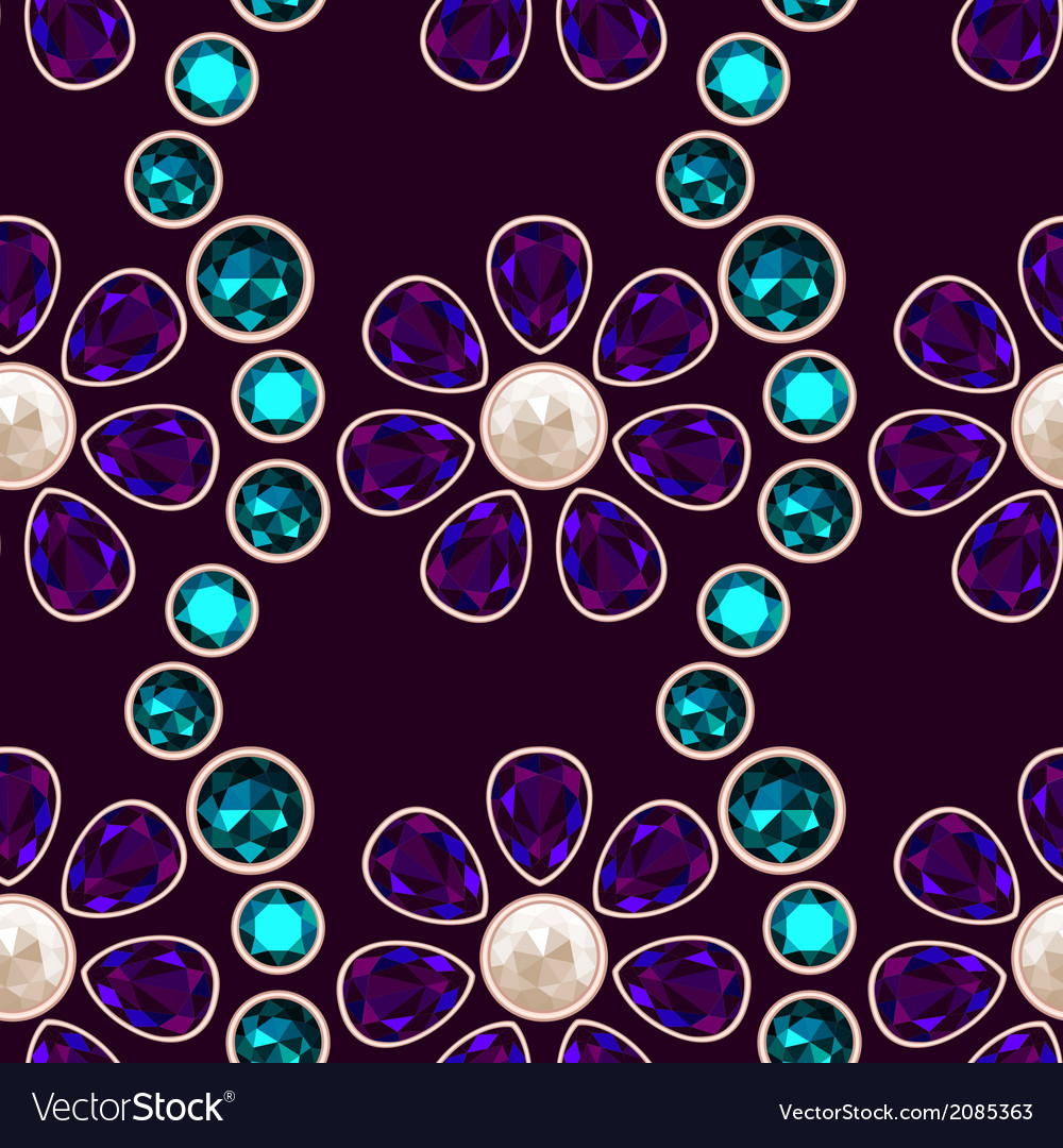 Dark gemstone floral seamless pattern vector | Price: 1 Credit (USD $1)