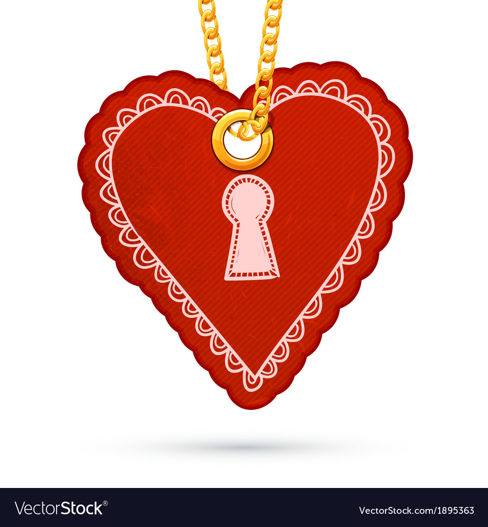 Heart with keyhole label tag hanging on golden vector | Price: 1 Credit (USD $1)