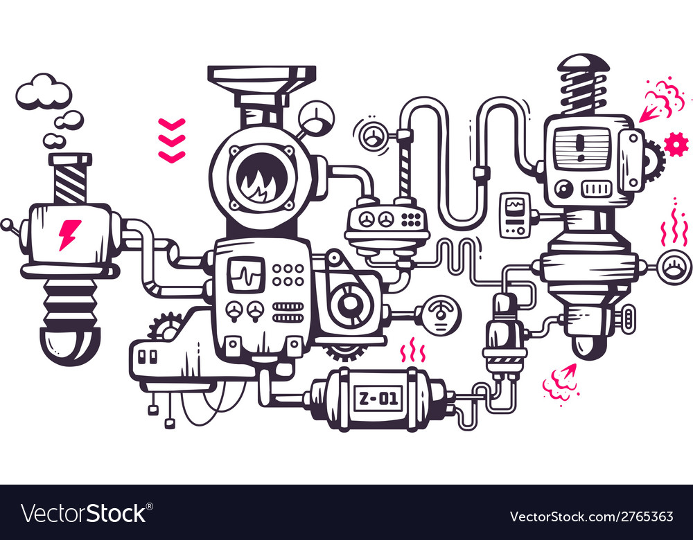 Industrial background of the operating mecha vector | Price: 1 Credit (USD $1)