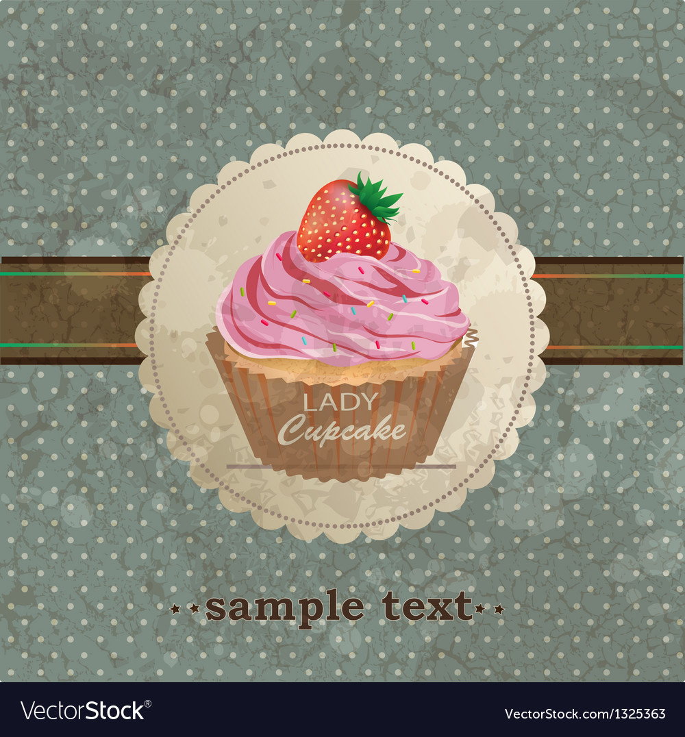 Retro background with cupcake vector   Price: 1 Credit (USD $1)