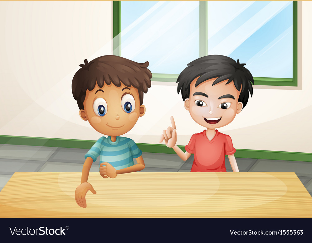 Two boys near the wooden table vector | Price: 1 Credit (USD $1)