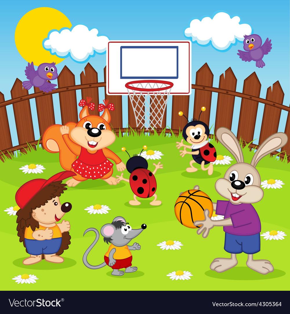 Animals play basketball vector   Price: 1 Credit (USD $1)