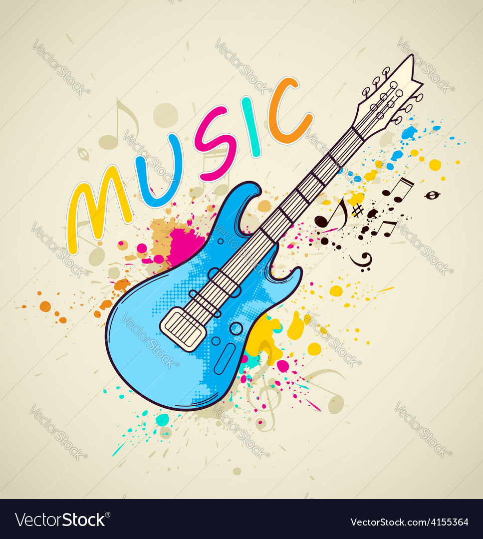 Background with electric guitar vector | Price: 1 Credit (USD $1)