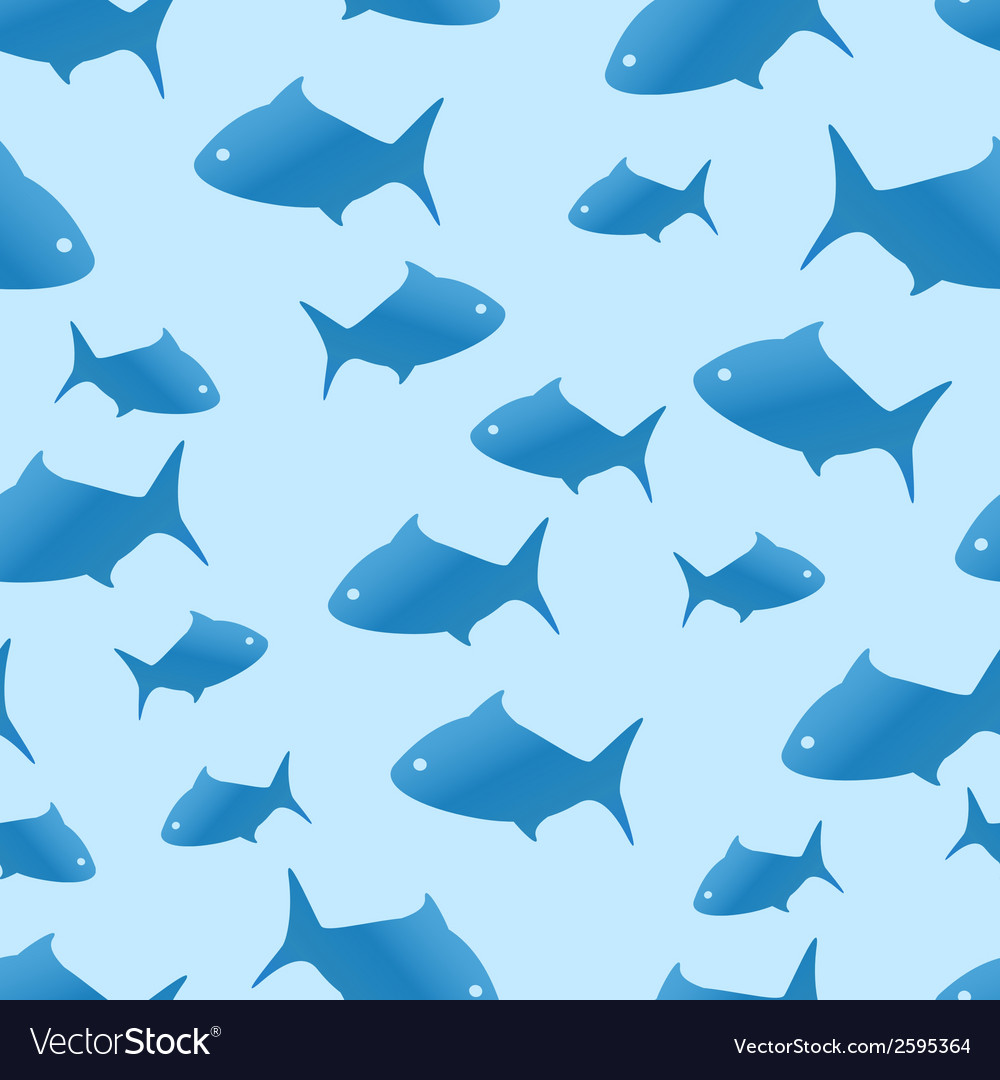 Blue shark seamless pattern vector | Price: 1 Credit (USD $1)