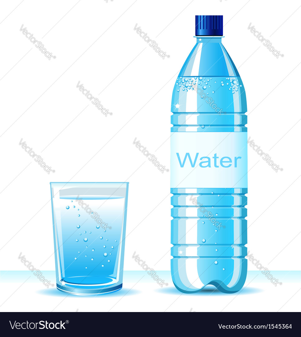 Bottle of clean water and glass vector | Price: 1 Credit (USD $1)