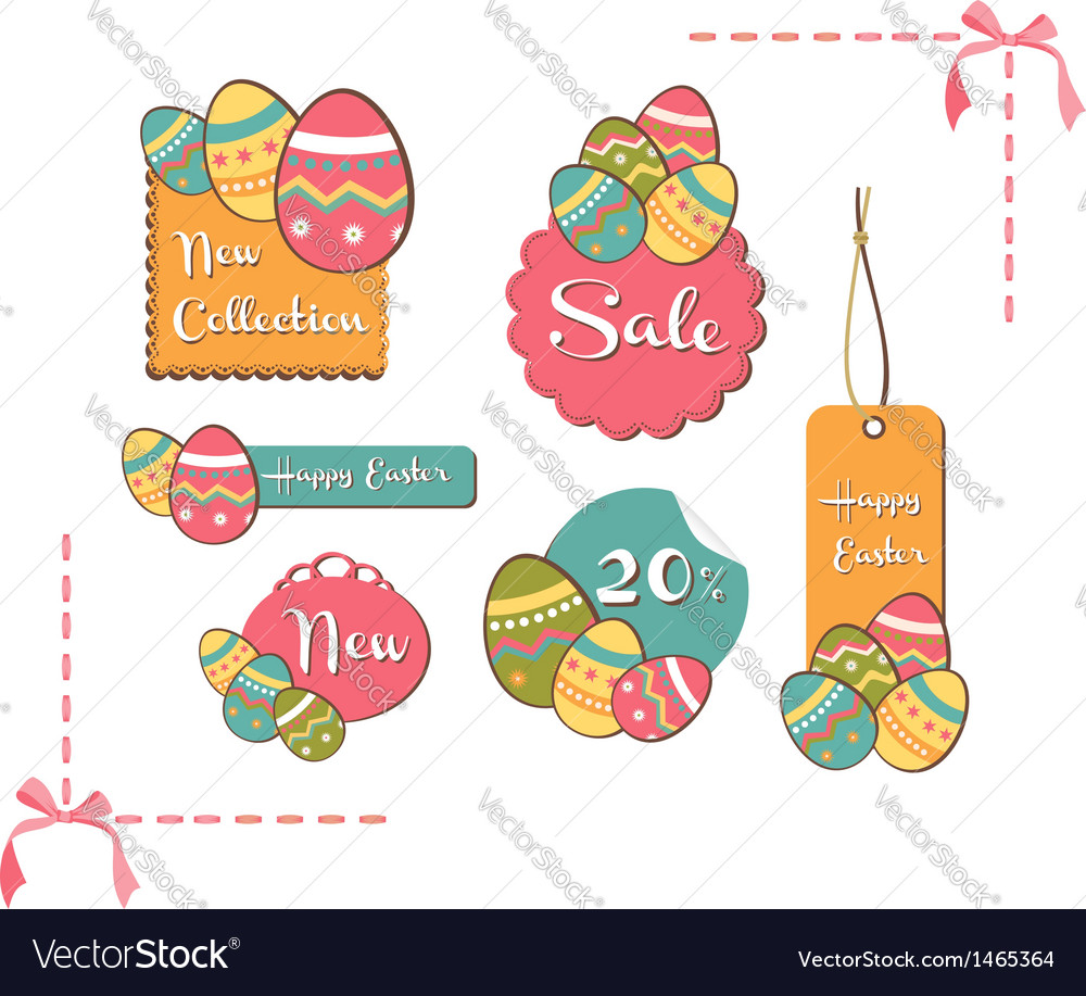 Easter eggs sales set background vector | Price: 1 Credit (USD $1)