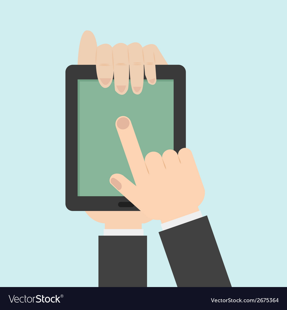 Hand touching a tablet vector | Price: 1 Credit (USD $1)