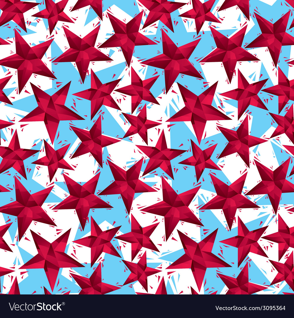 Red stars seamless pattern geometric contemporary vector | Price: 1 Credit (USD $1)