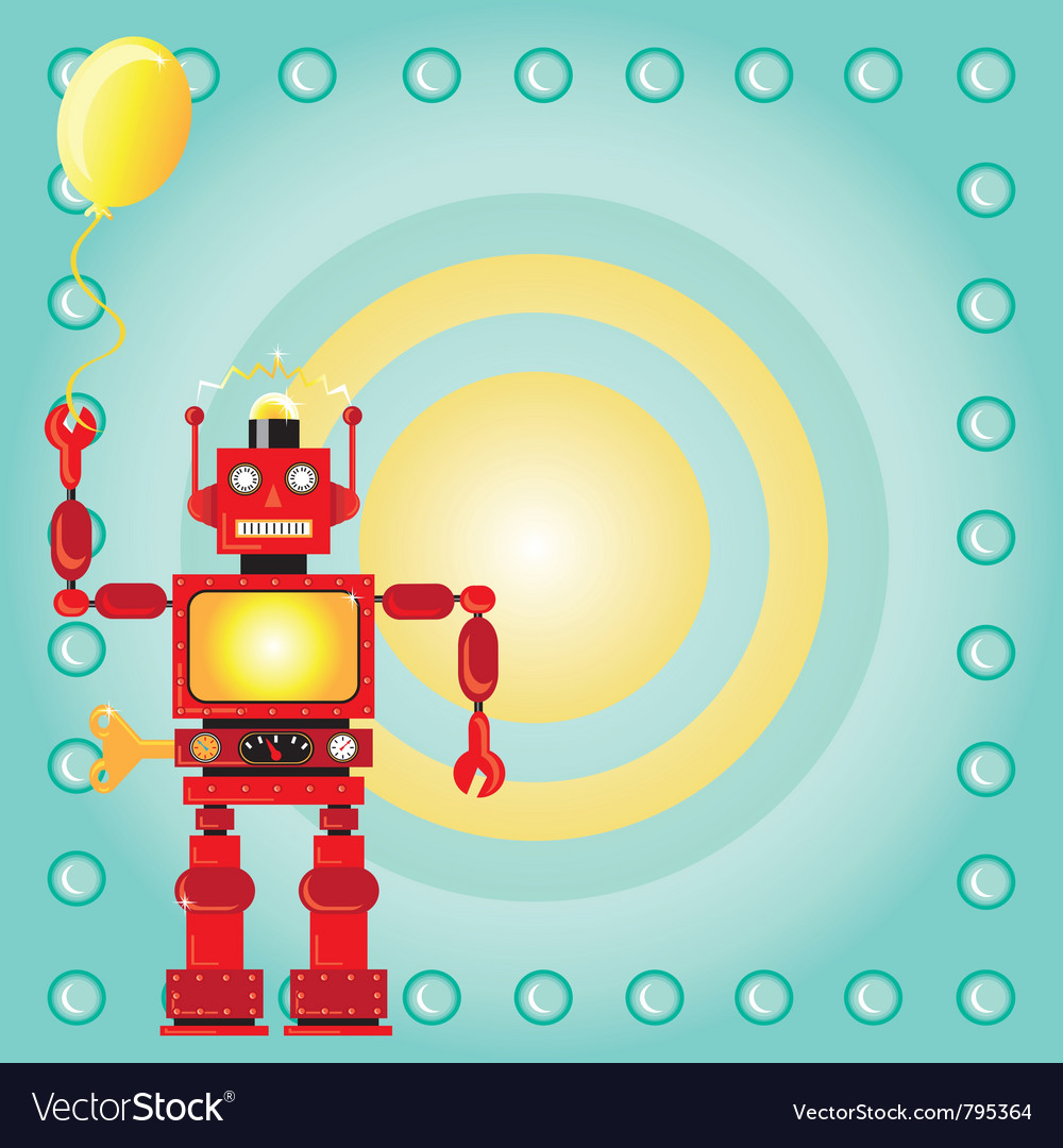 Robot birthday party invitation vector | Price: 3 Credit (USD $3)