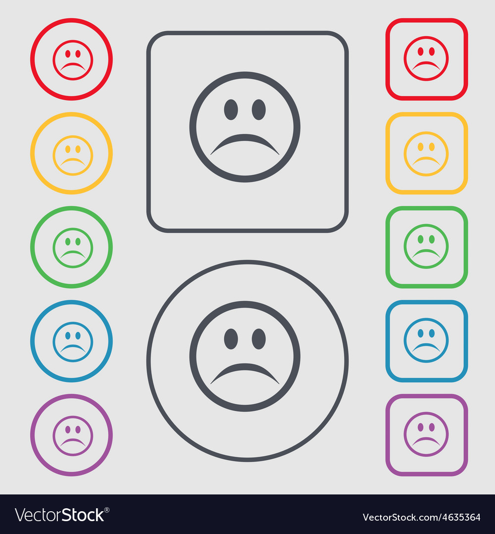 Sad face sadness depression icon sign symbol on vector | Price: 1 Credit (USD $1)
