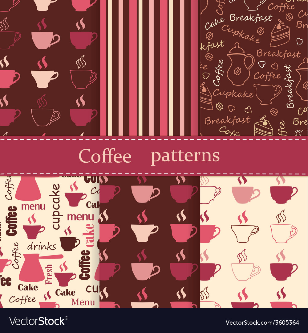 Set of coffee seamless patterns vector