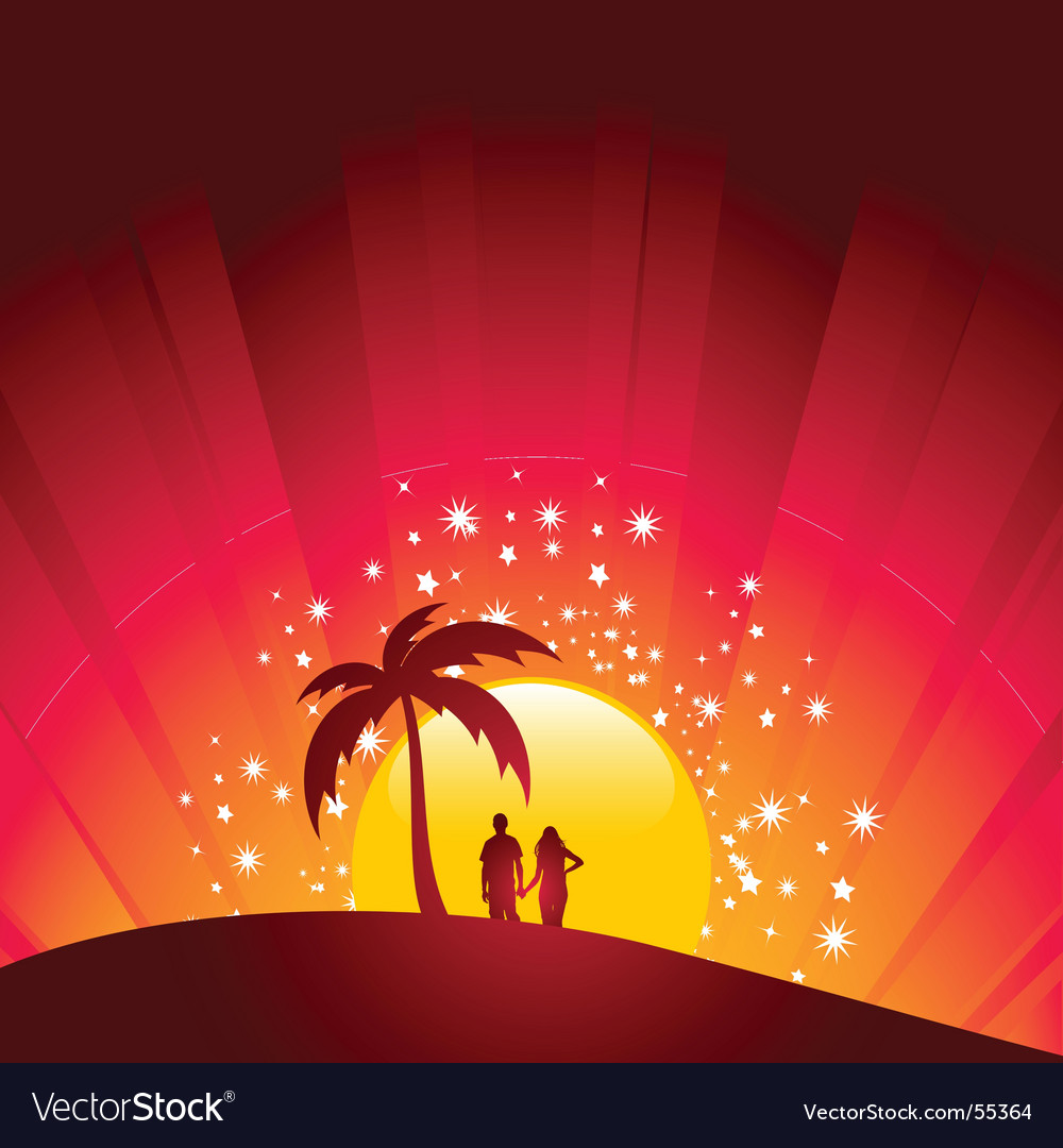 Tropical sunset couple vector | Price: 1 Credit (USD $1)