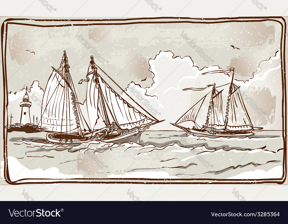 Vintage view of sailing ships on the sea vector | Price: 1 Credit (USD $1)