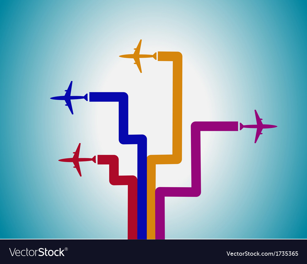 Airplanes and lines vector | Price: 1 Credit (USD $1)
