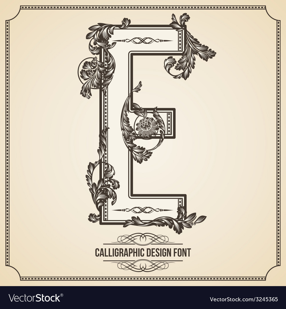 Calligraphic font letter e vector | Price: 1 Credit (USD $1)