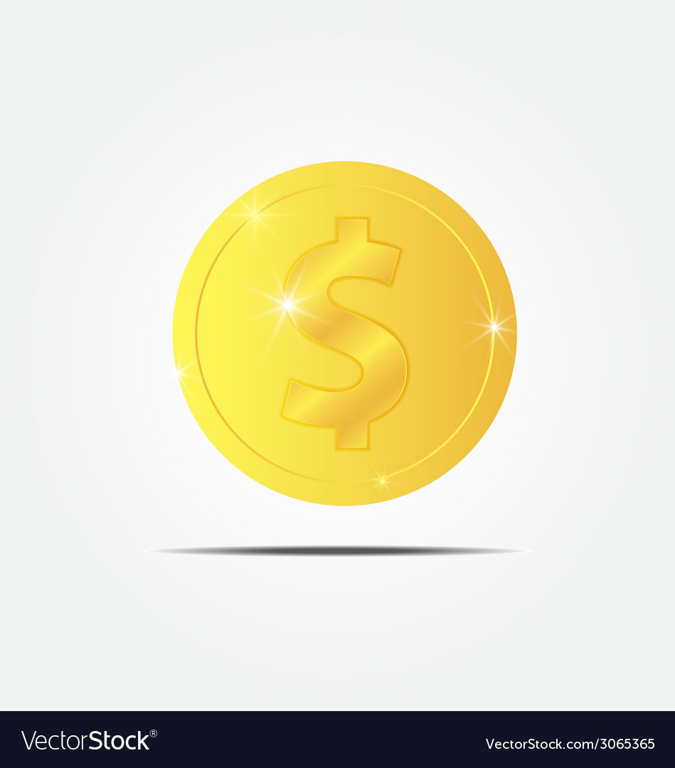 Coin with sparkle vector | Price: 1 Credit (USD $1)
