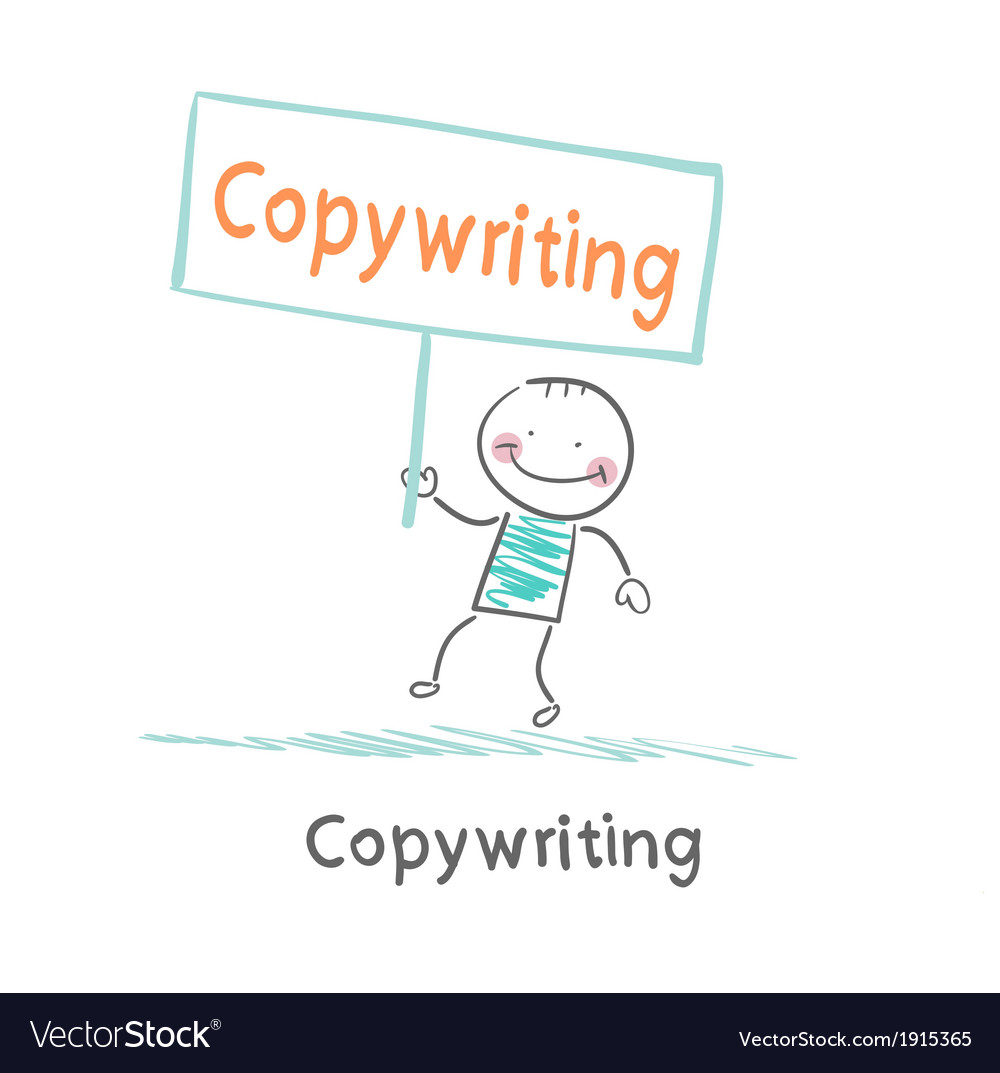 Copywriter holding a sign saying that it vector | Price: 1 Credit (USD $1)