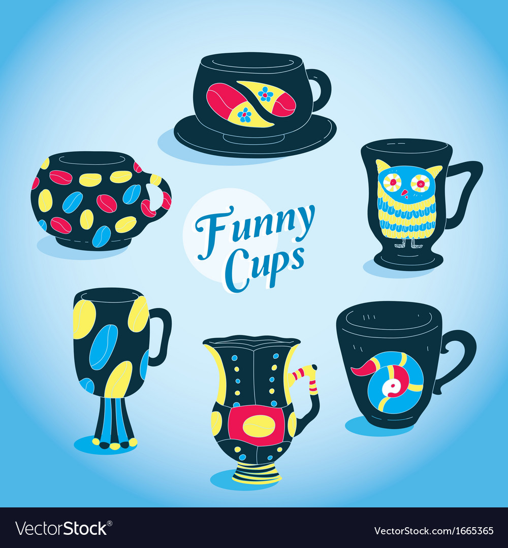 Cute funny cups collection vector | Price: 1 Credit (USD $1)
