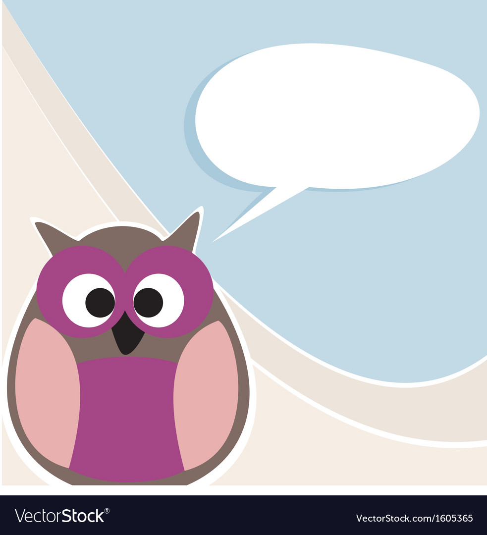 Funny owl talking teaching giving instructions vector | Price: 1 Credit (USD $1)