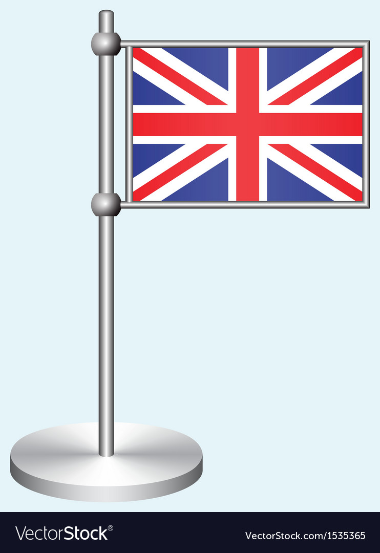 Great britain flag with metal stand vector | Price: 1 Credit (USD $1)
