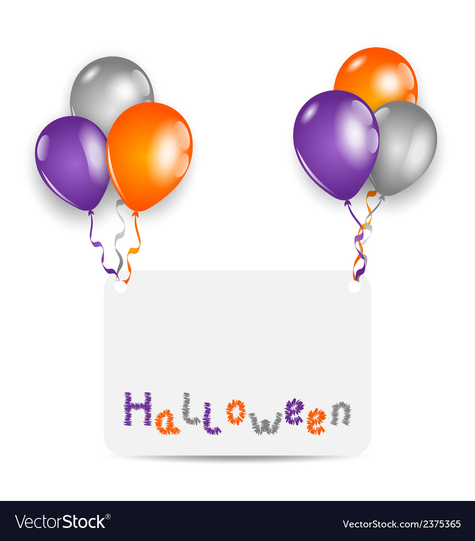Halloween card with set colorful balloons vector | Price: 1 Credit (USD $1)