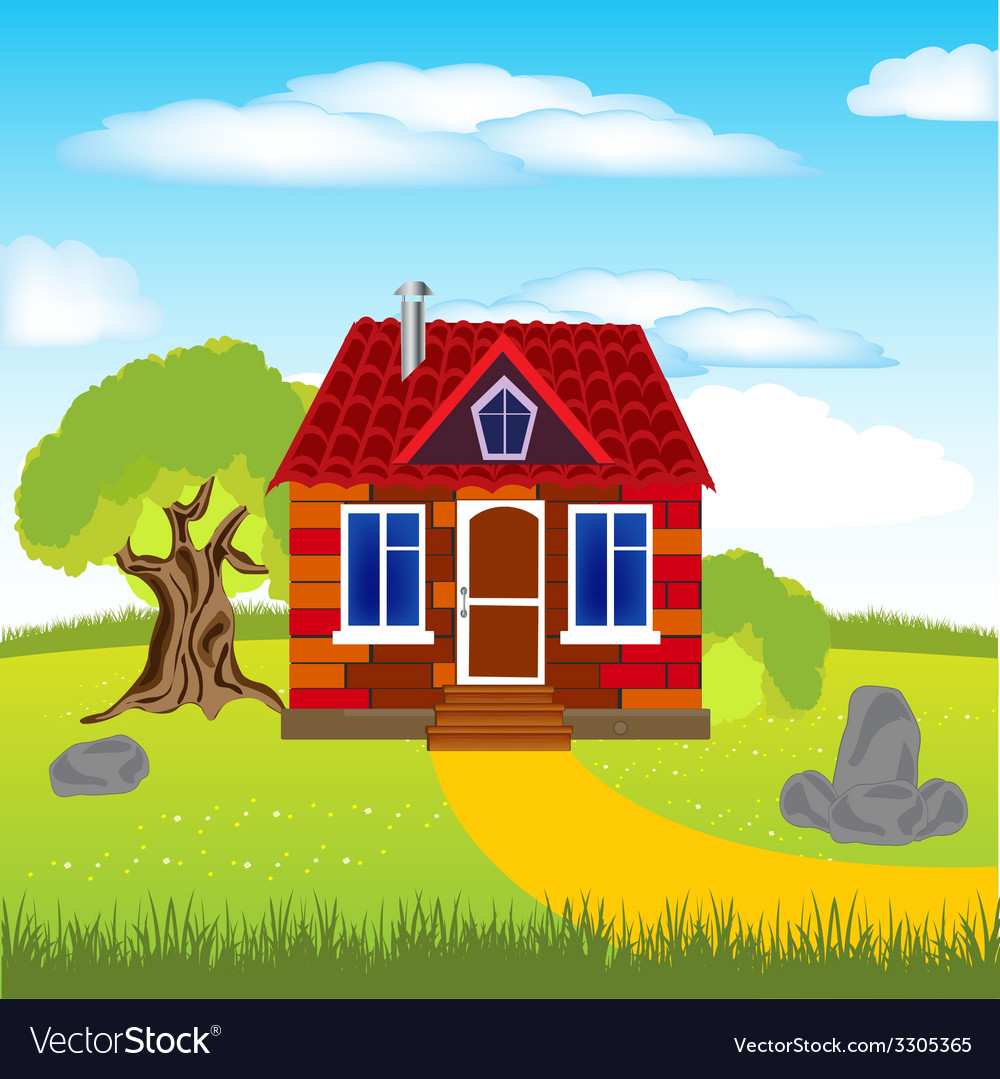 House on glade vector | Price: 1 Credit (USD $1)
