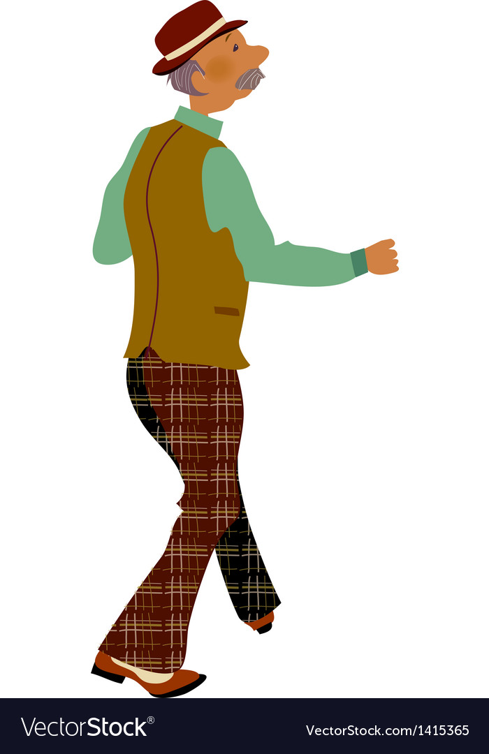 Old man walking vector | Price: 1 Credit (USD $1)
