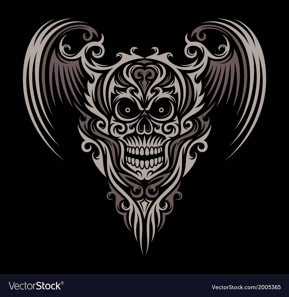 Ornate winged skull vector | Price: 1 Credit (USD $1)