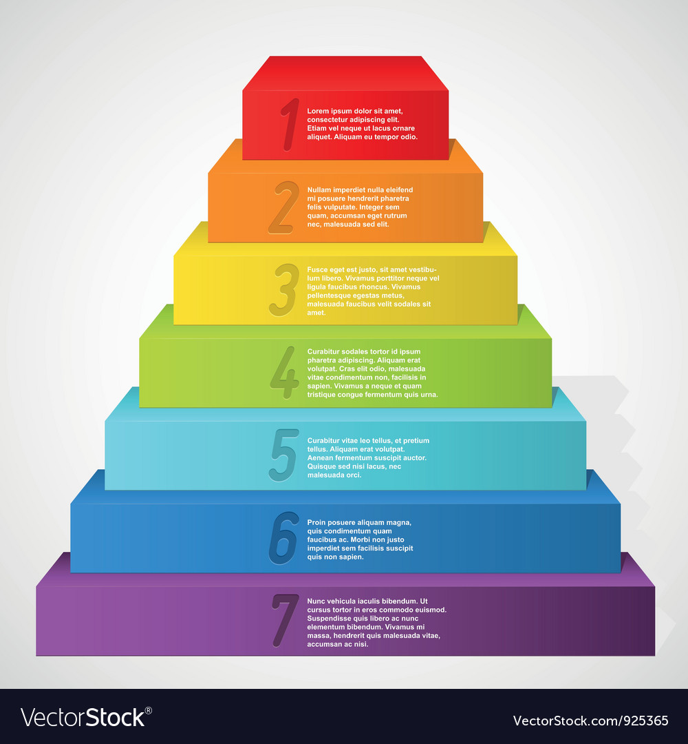 Rainbow pyramid with numbers vector | Price: 1 Credit (USD $1)