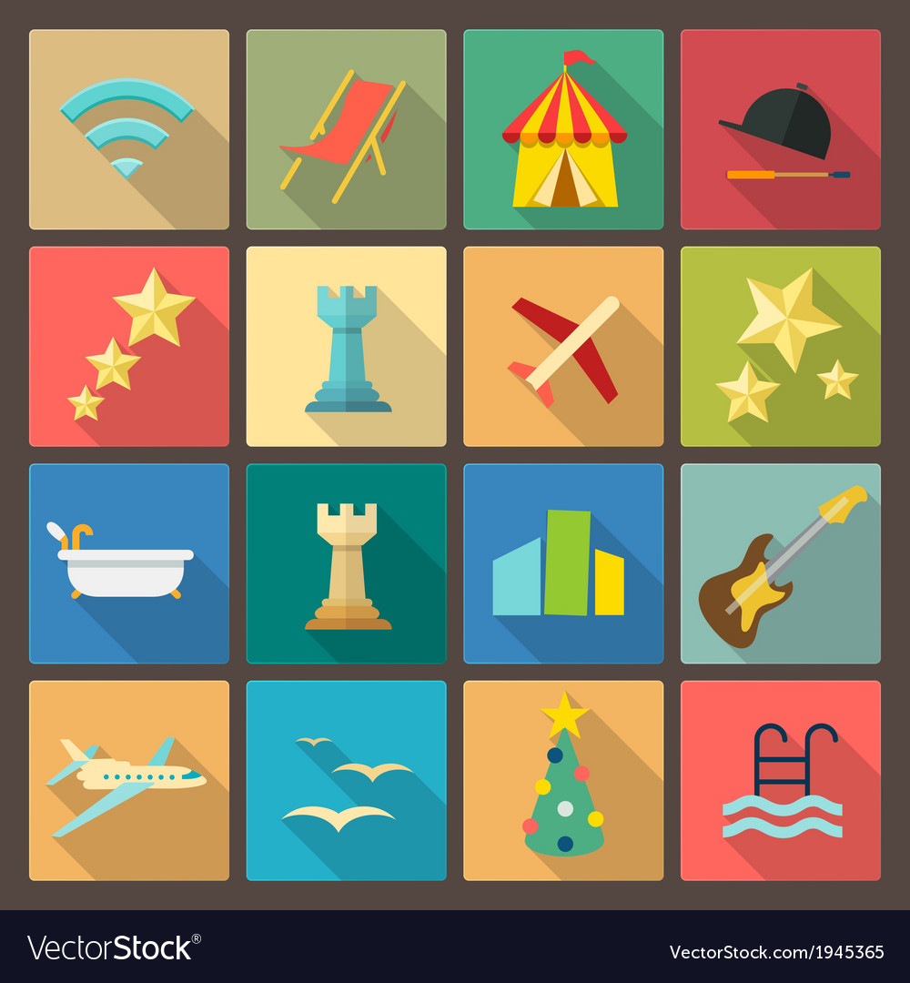 Rest and entertainment icons in flat design style vector | Price: 1 Credit (USD $1)