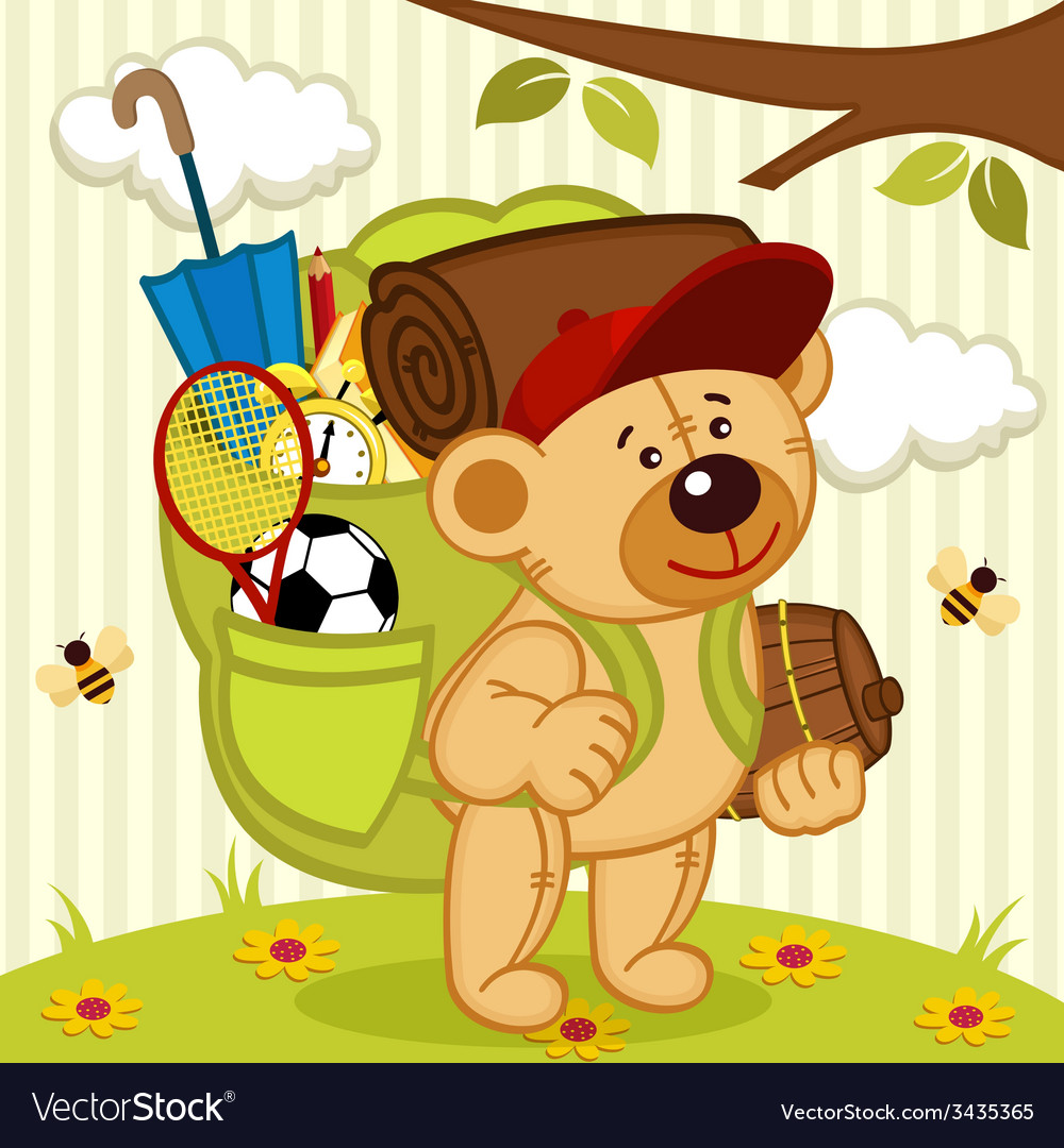 Teddy bear goes hiking vector | Price: 1 Credit (USD $1)