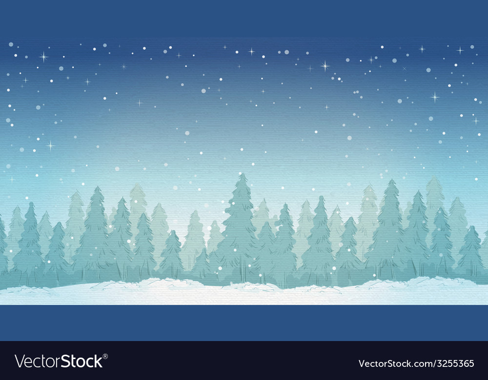 Vintage winter night forest landscape vector | Price: 1 Credit (USD $1)
