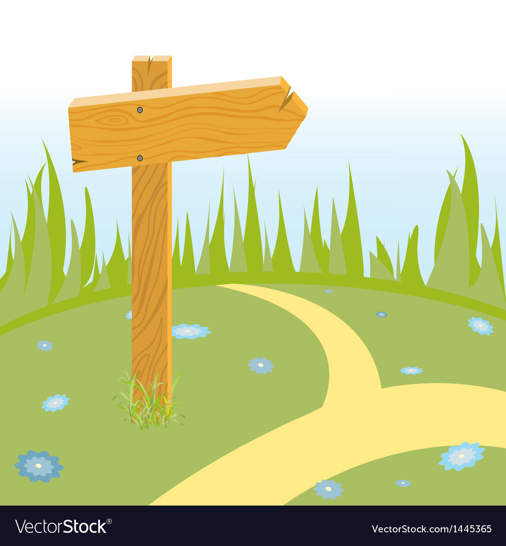 Wooden arrow on the road vector | Price: 1 Credit (USD $1)