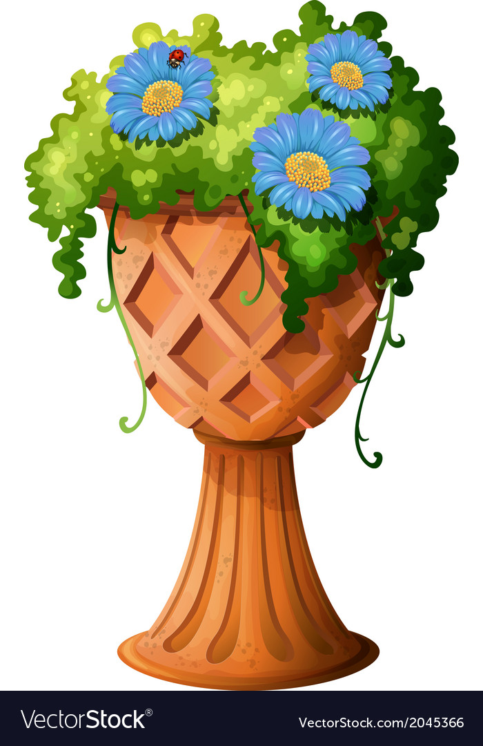 A pot with a plant vector | Price: 1 Credit (USD $1)