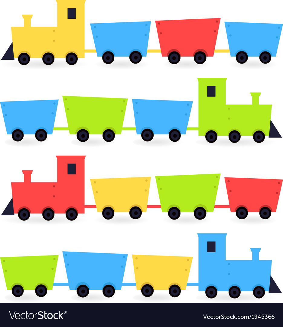 Childish cartoon colorful trains isolated on white vector | Price: 1 Credit (USD $1)