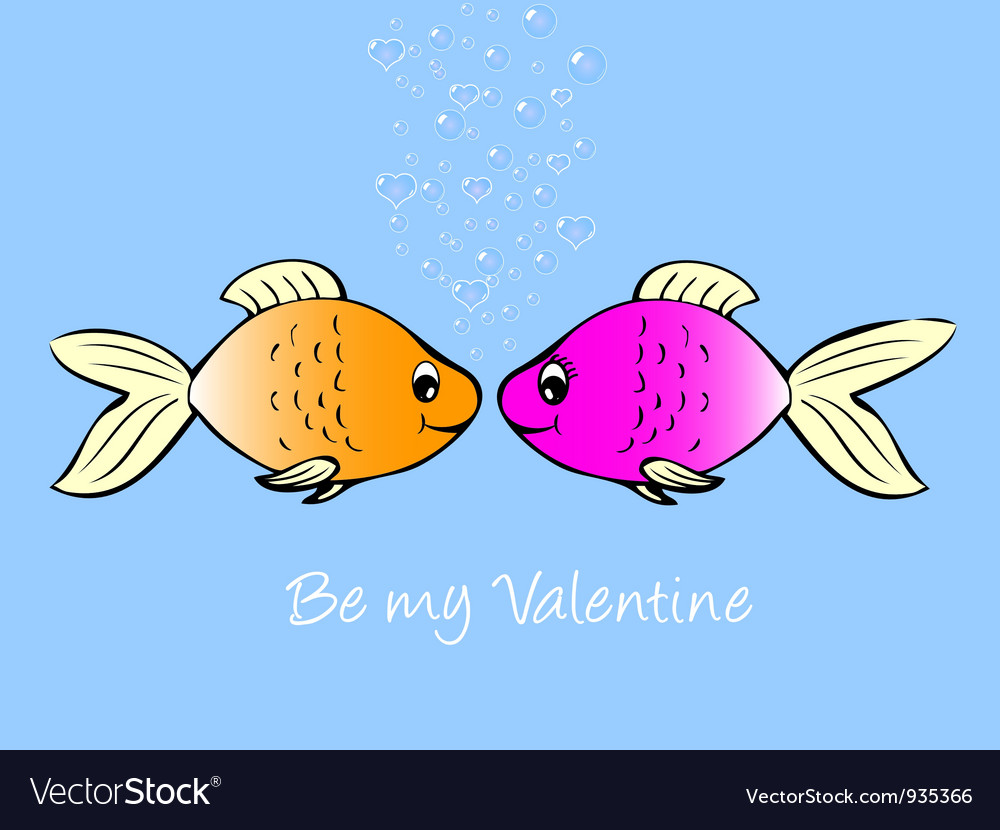 Fish in love vector | Price: 1 Credit (USD $1)