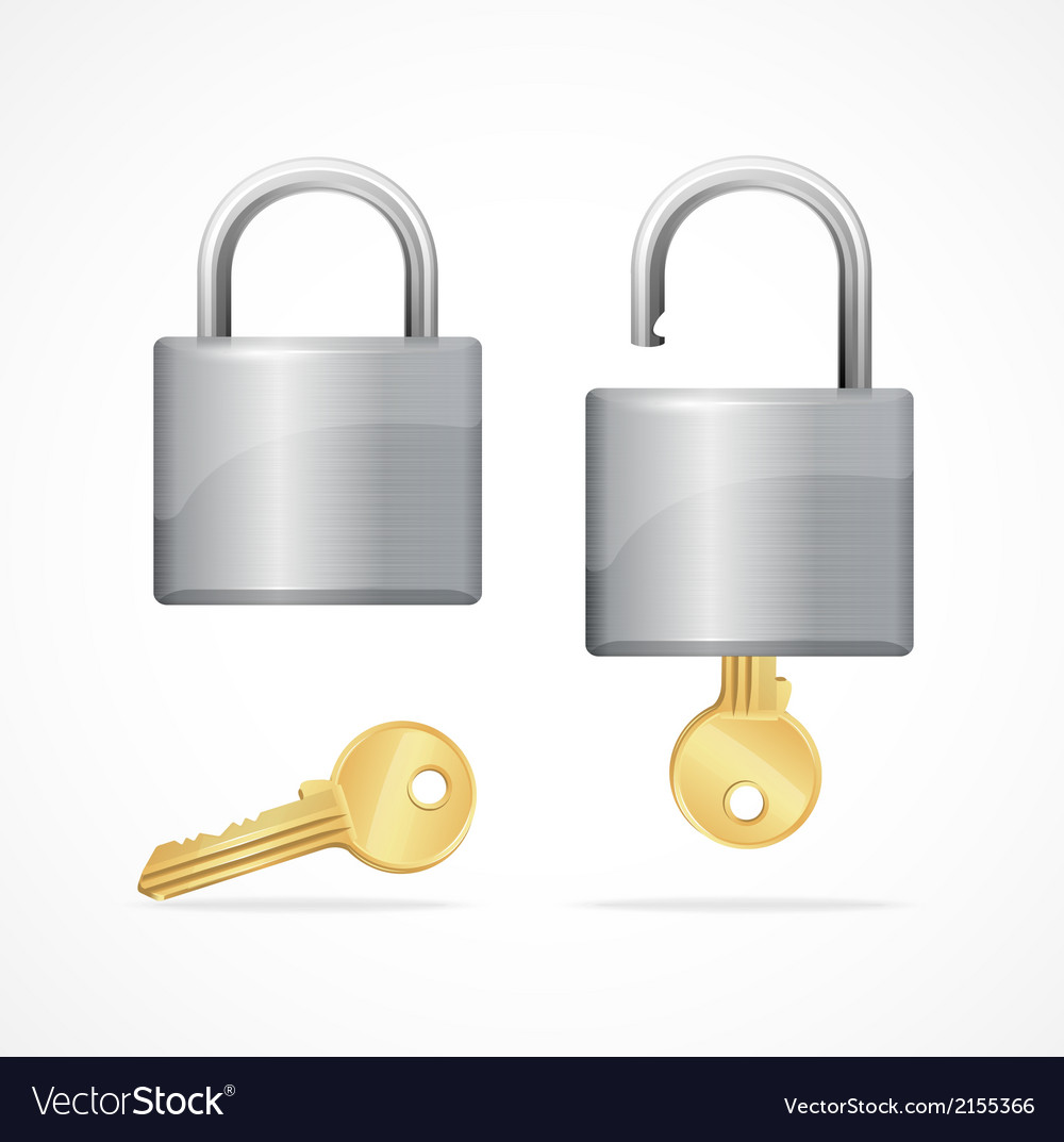 Locked and unlocked padlock gold vector | Price: 1 Credit (USD $1)