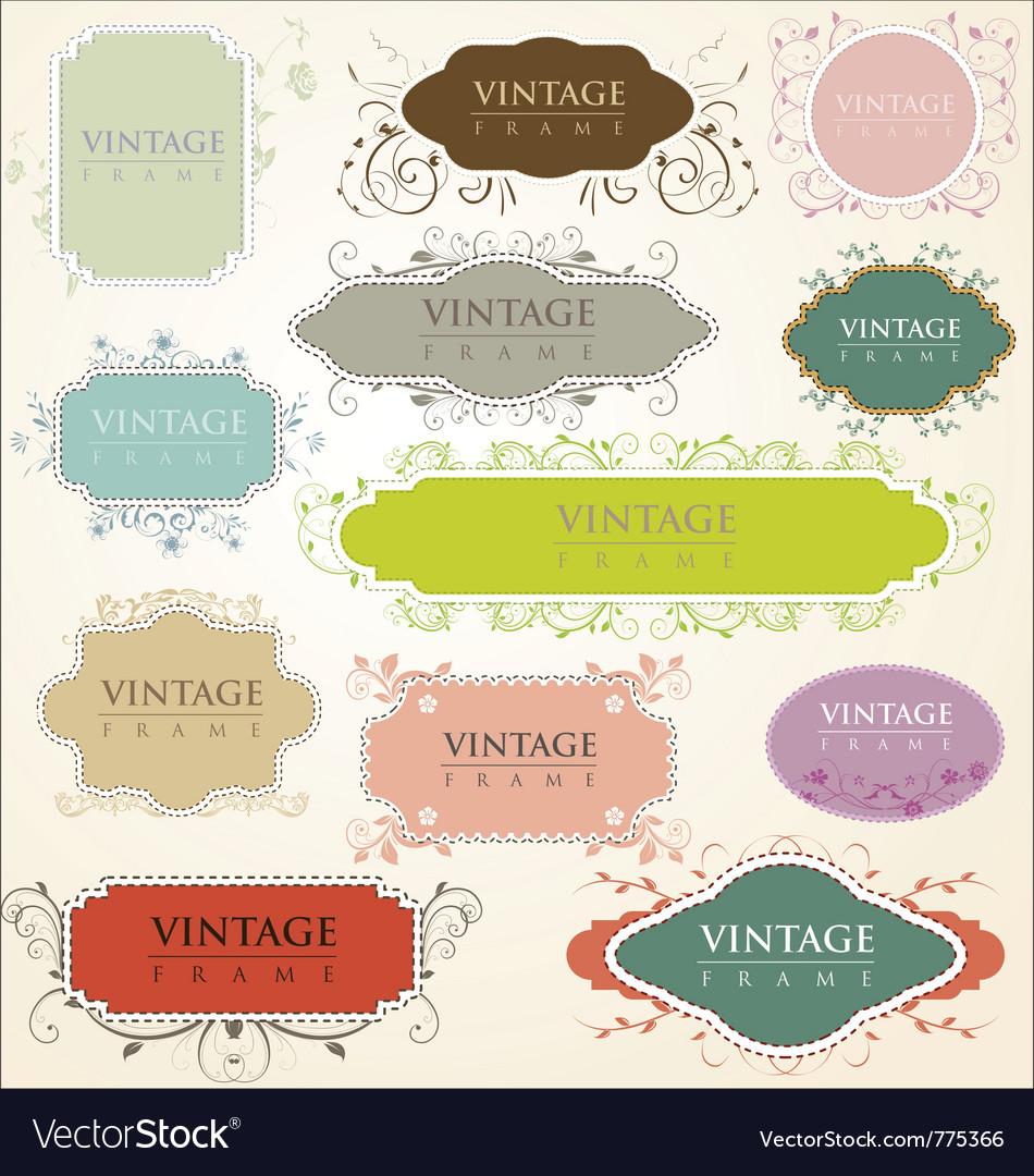Vintage floral frames vector | Price: 1 Credit (USD $1)