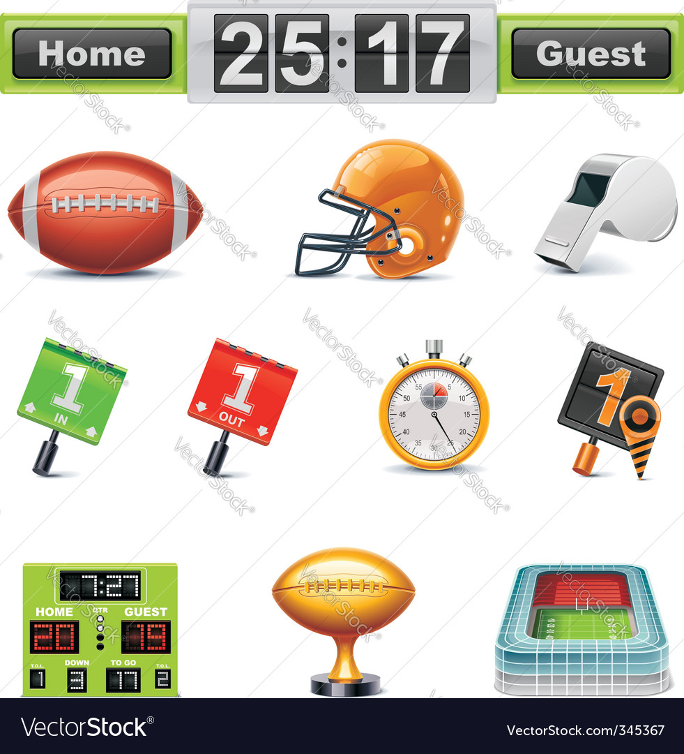 American football icon set vector | Price: 3 Credit (USD $3)