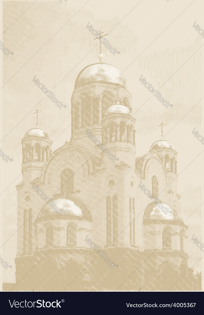 Background with church at engraving style vector | Price: 1 Credit (USD $1)