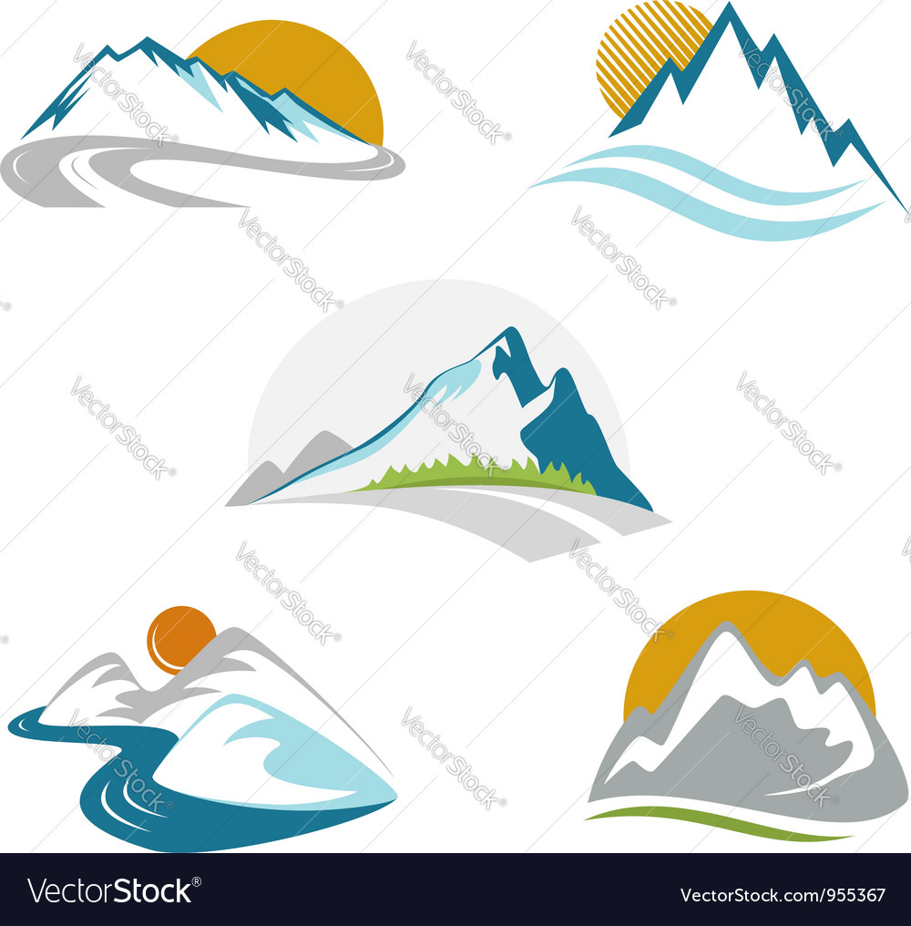 Blue mountains emblem set vector | Price: 1 Credit (USD $1)