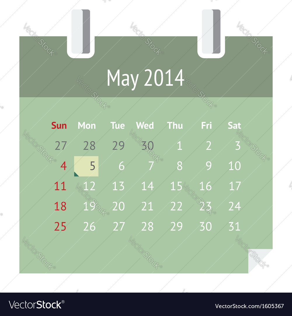 Calendar page for may 2014 vector | Price: 1 Credit (USD $1)